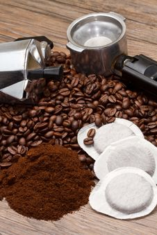 Coffee Maker With Different Type Of Coffee Stock Photo
