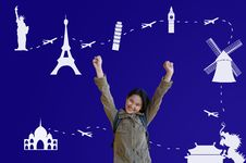 Free Asian Girl With Traveling Route Stock Photo - 24372160