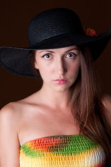 Free Fashion Girl With Hat Stock Image - 24372321