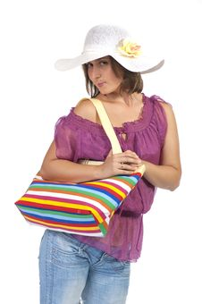 Free Beautiful Woman Holding Beach Bag Stock Images - 24372514