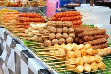 Meatballs On Sticks At Market Royalty Free Stock Image