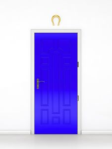 Free Blue Door And The Golden Horseshoe Royalty Free Stock Images - 24374559
