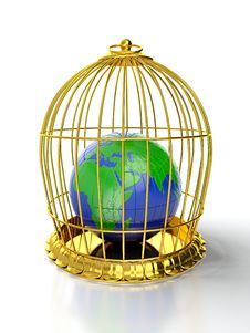 Free Earth In Golden Cage Stock Photo - 24374580