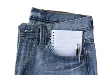 Free New Blue Jeans Trouser And Notepad Royalty Free Stock Photos - 24376848