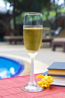 Free Wine Glasses At The Pool Royalty Free Stock Photography - 24376997
