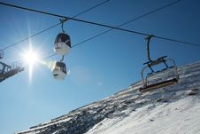 Ski Lifts And Slope From Avalanches Stock Images