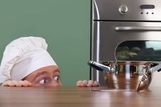 Free Chef Strange Looking At Pot Royalty Free Stock Photos - 24378238