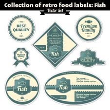 Free Collection Of Retro Food Labels. Fish Royalty Free Stock Images - 24381269