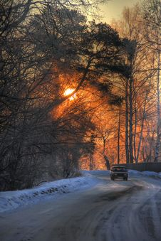 Free Winter Road. Sunrise. Stock Image - 24383841
