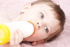 Free Little Baby Drinking Milk, Close Up Royalty Free Stock Images - 24384379