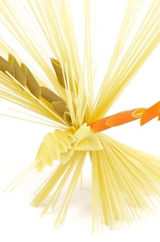 Free Bunch Of Spaghetti With Color Fusilli Stock Images - 24390374