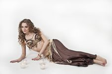 Free Pretty Belly Dancer Posing On White Background Royalty Free Stock Photography - 24391367