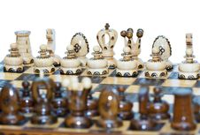 Free Chess Board Focus To White King And Queen Stock Photography - 24393032