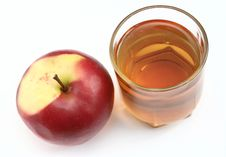 Free Red Apple And Glass Of Juice Stock Photography - 2440062
