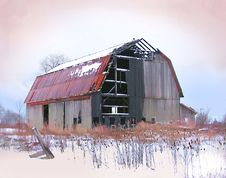 Burnt-Out Barn Royalty Free Stock Images