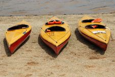 Free Canoes On The Beach Stock Photos - 2442583