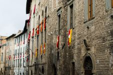 Free Old Facade With The Flags Of T Royalty Free Stock Photo - 2443325