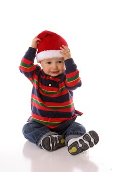 Free Happy Santa Hat Baby Royalty Free Stock Photo - 2444105