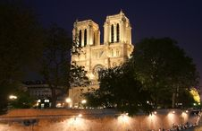 Notre Dame At Night Royalty Free Stock Image