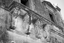 Ancient Balcony With He-goats Stock Photos