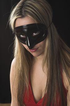 Free Woman Wearing A Black Mask Stock Image - 2446921