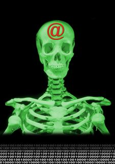 Skeleton In Green Stock Image