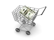 Free Consumer S Basket And Dollar Royalty Free Stock Photo - 2448515