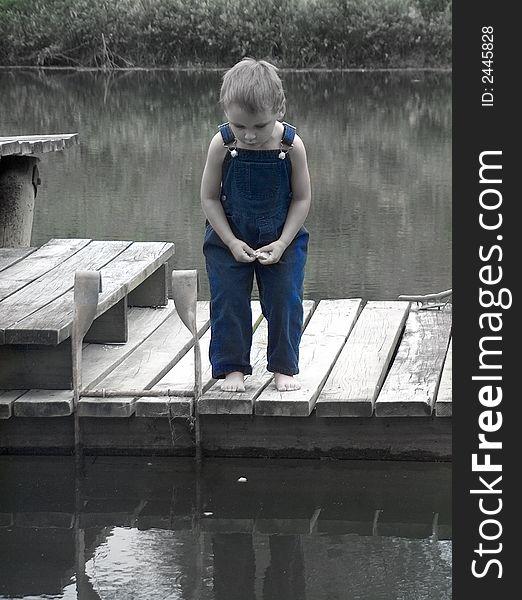 Little boy on dock