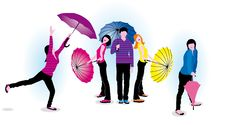 Free Young People With Umbrellas Royalty Free Stock Images - 24402839
