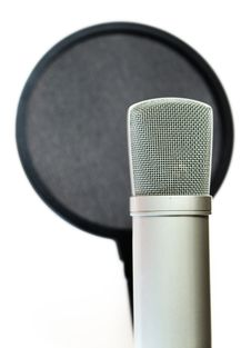 Free Condenser Microphone And Pop Filter Stock Image - 24405971