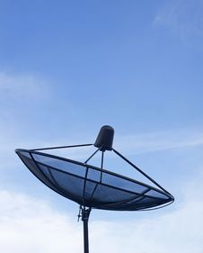 Black Satellite Dish Stock Photo