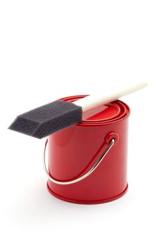 Free Red Paint Bucket And Brush Royalty Free Stock Photos - 24407228