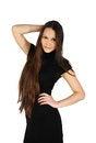 Free Beautiful Girl Wearing Black Dress Smiles Royalty Free Stock Image - 24413726