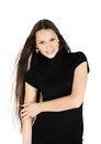 Free Beautiful Brunette Girl Wearing Black Dress Smiles Stock Image - 24413731