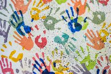 Free Colorful Random Hand Print On White Background Royalty Free Stock Photos - 24412038