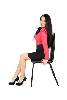 Free Girl Wearing Skirt And Red Shirt Sits On Chair Stock Images - 24413684