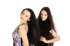 Free Two Brunette Girls Look At Camera Royalty Free Stock Photography - 24413767