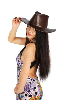 Beautiful Girl Wearing Dress And Leather Hat Stock Photo