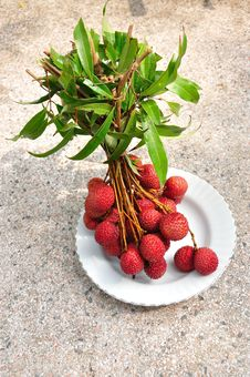 Free Bunch Of Fresh Lychees On Plate Royalty Free Stock Photos - 24415888