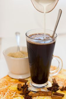 Free Coffee With Milk And Sugar Royalty Free Stock Image - 24417946