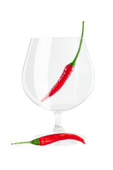Free Red Peppers In A Wine Glass Stock Photography - 24418372