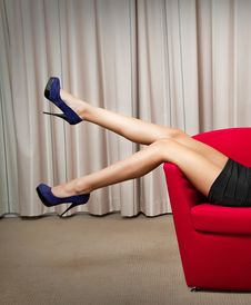 Free Beautiful Long Legs Of Girl In Black Dress Royalty Free Stock Images - 24418709