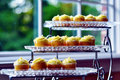 Free Delicious Glass Platters Of Luxurious Cupcakes Royalty Free Stock Image - 24425726