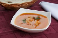 Tomato Soup With Shrimps Royalty Free Stock Images