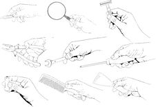 Free Hands Holding Tools Set Royalty Free Stock Photos - 24424108