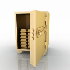 Free Gold Safe With Gold Bullions Royalty Free Stock Image - 24425946