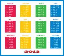 2013 Calendar Template Colorful Stock Photos
