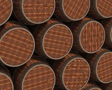 Free Wooden Barrels Stock Image - 24428401