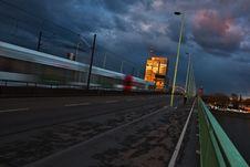Tram Crossing A Bridge Royalty Free Stock Photo