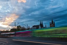 Free Tram In Motion Blur At Dusk Stock Images - 24428514